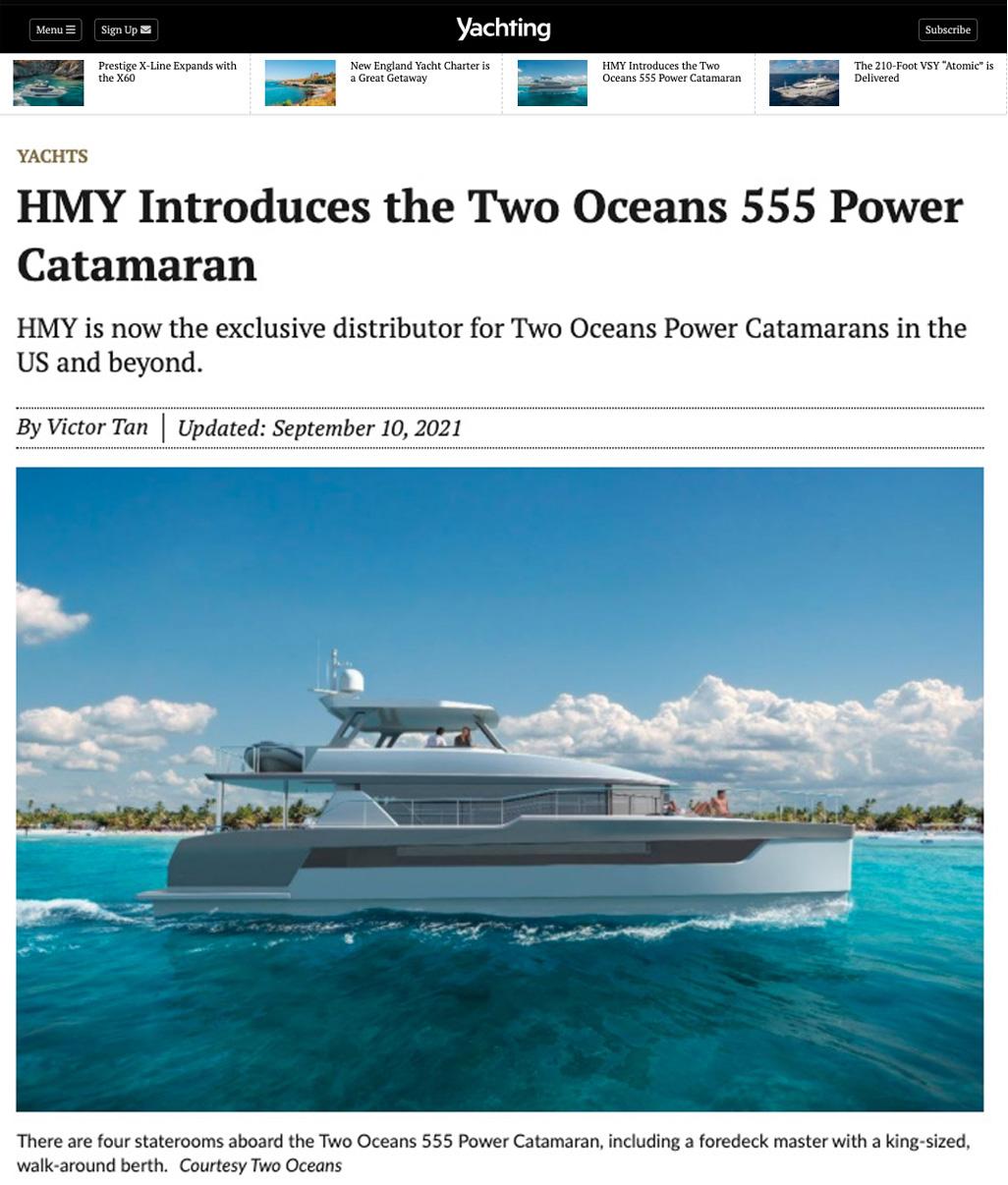 Two Oceans 555 Power Catamaran on the cover of POWER & MOTORYACHT Magazine