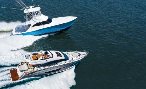 A Sportfish boat and a Cabin Cruiser Yacht racing
