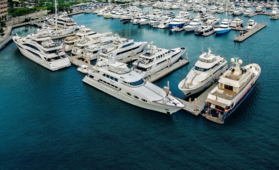 Aerial view of a luxury marina
