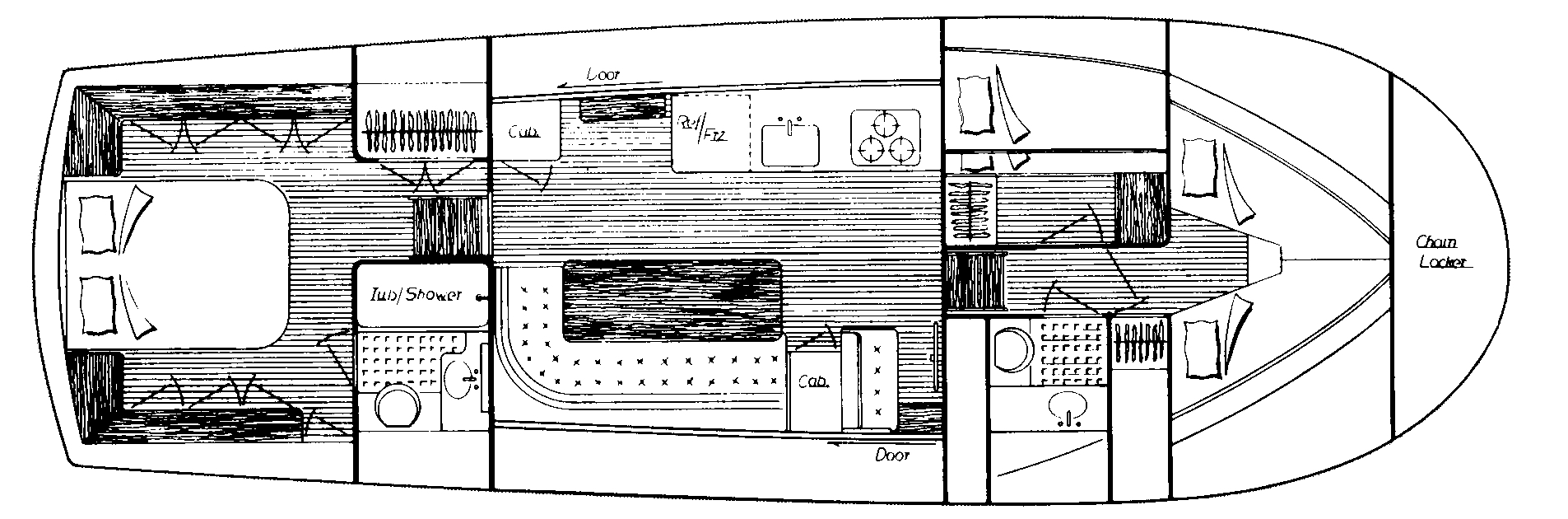 Albin 43 Trawler Floor Plan 2