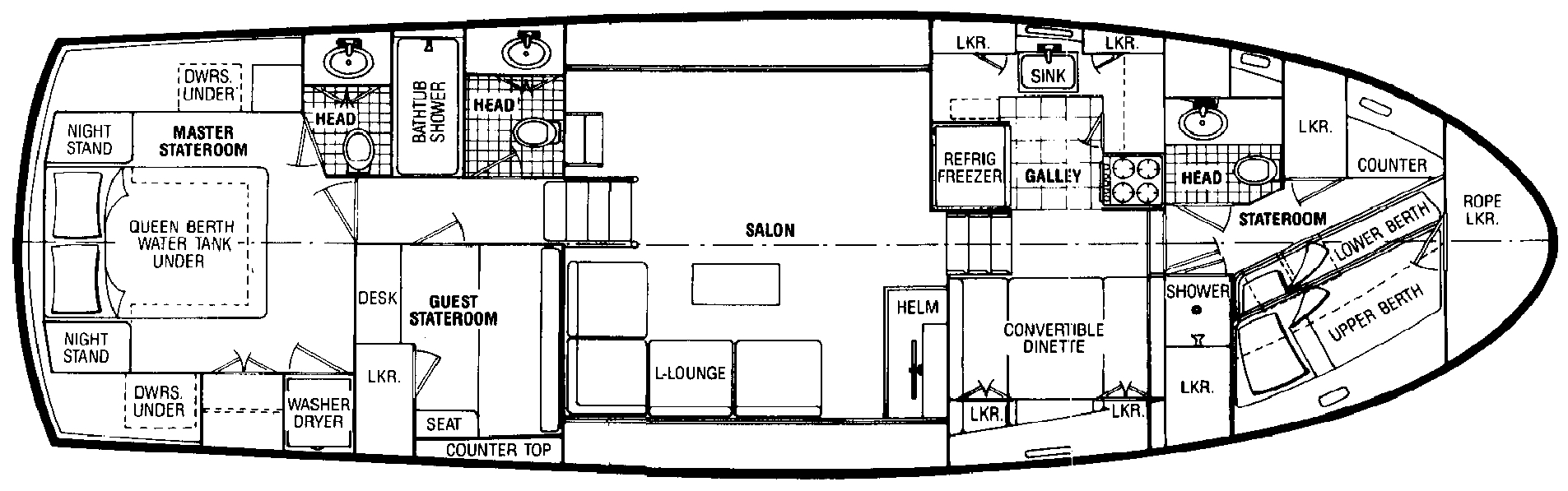 Atlantic 47 Motor Yacht Floor Plan 2