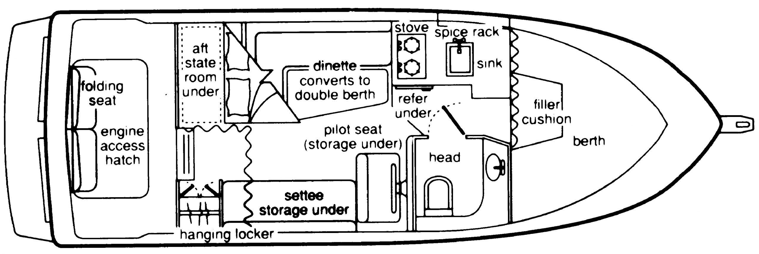 Bayliner 2850-2858 Command Bridge Floor Plan 2