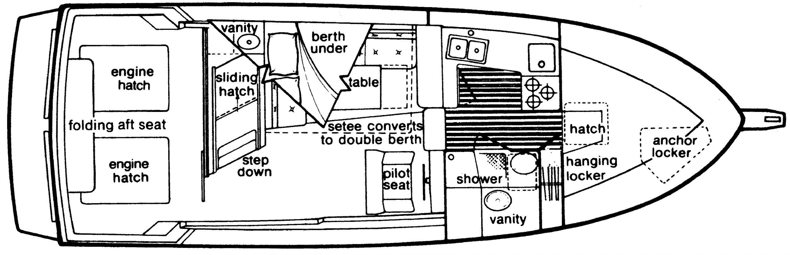 3270 Explorer; 3270-3288 Motor Yacht Floor Plan 1