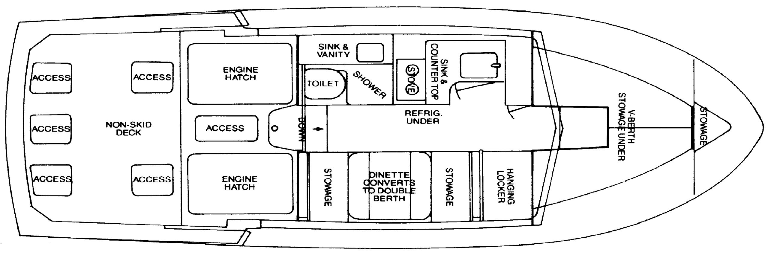 Bertram 28 Flybridge Cruiser Floor Plan 2