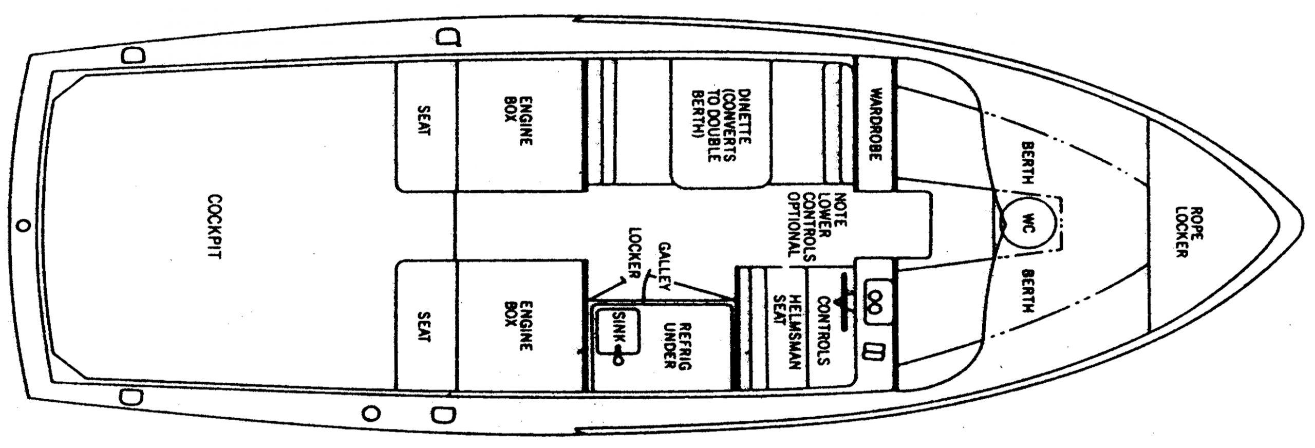 Bertram 31 Flybridge Cruiser Floor Plan 2