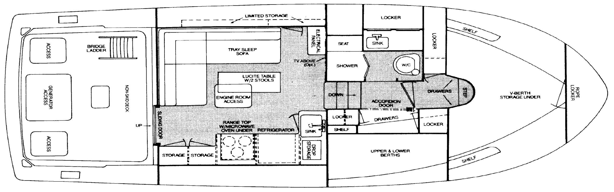 Bertram 33 Flybridge Cruiser Floor Plan 2