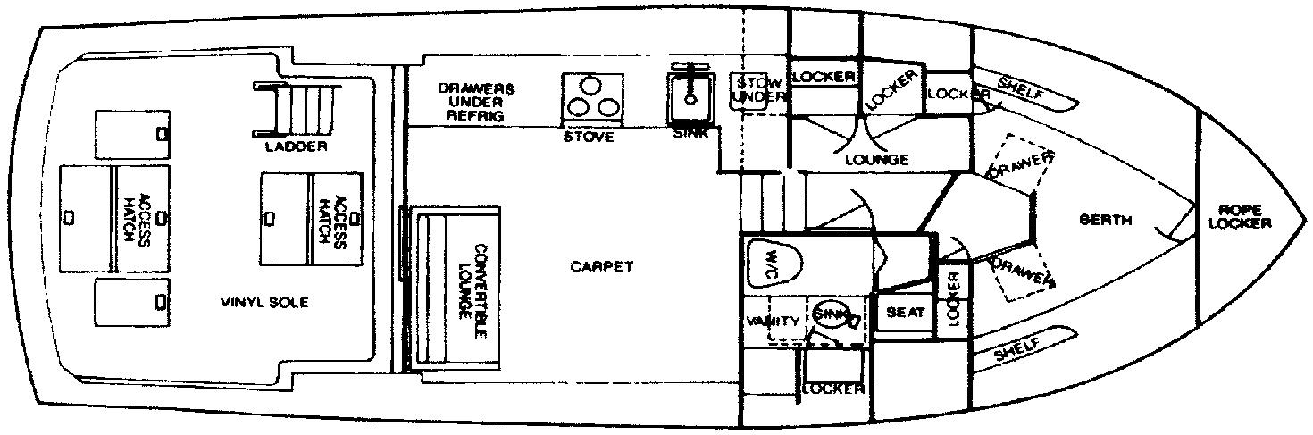 Bertram 35 Convertible Floor Plan 2