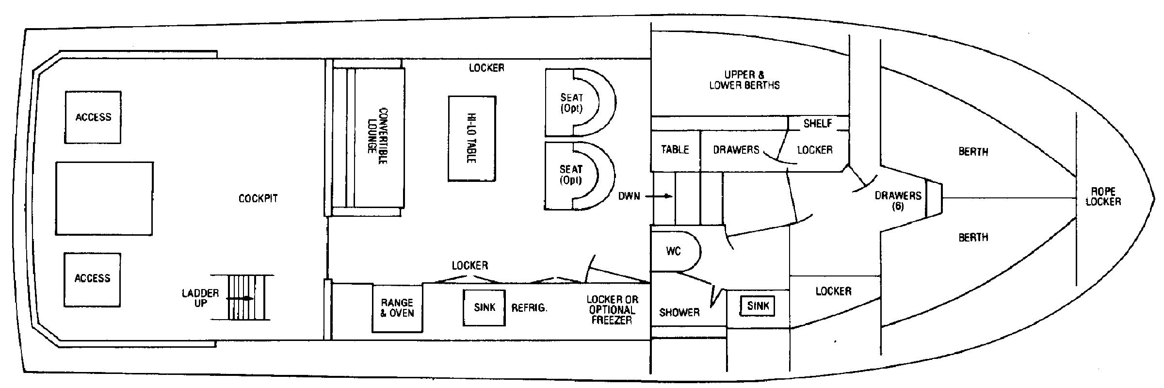Bertram 38 III Convertible Floor Plan 2