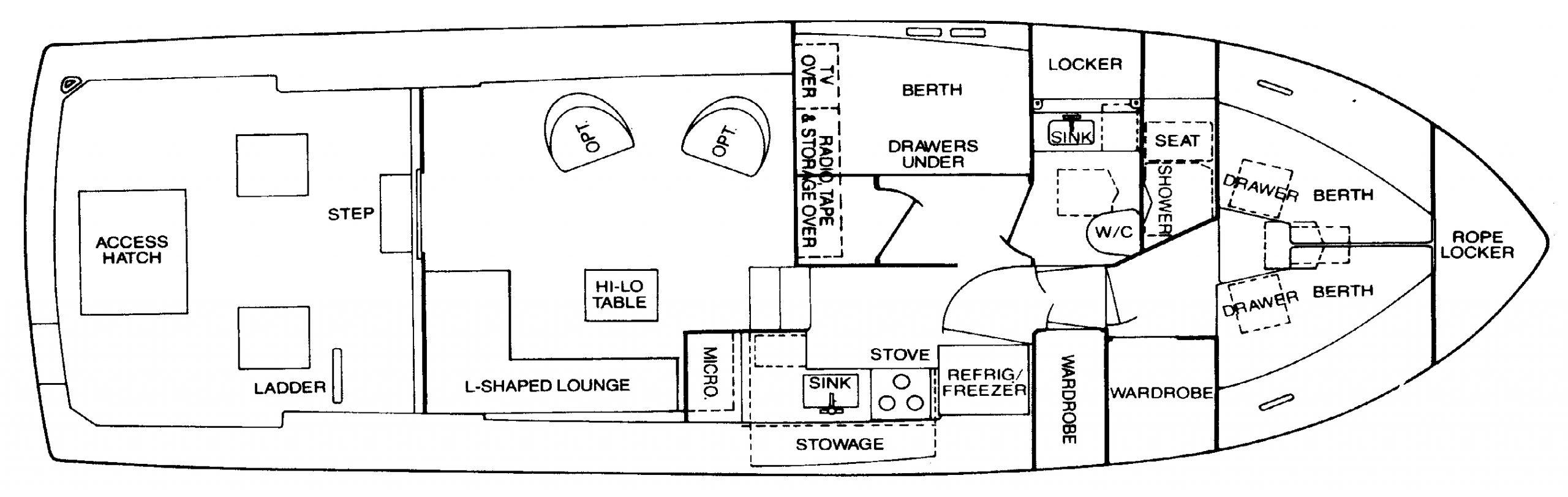 Bertram 42 Convertible Floor Plan 2