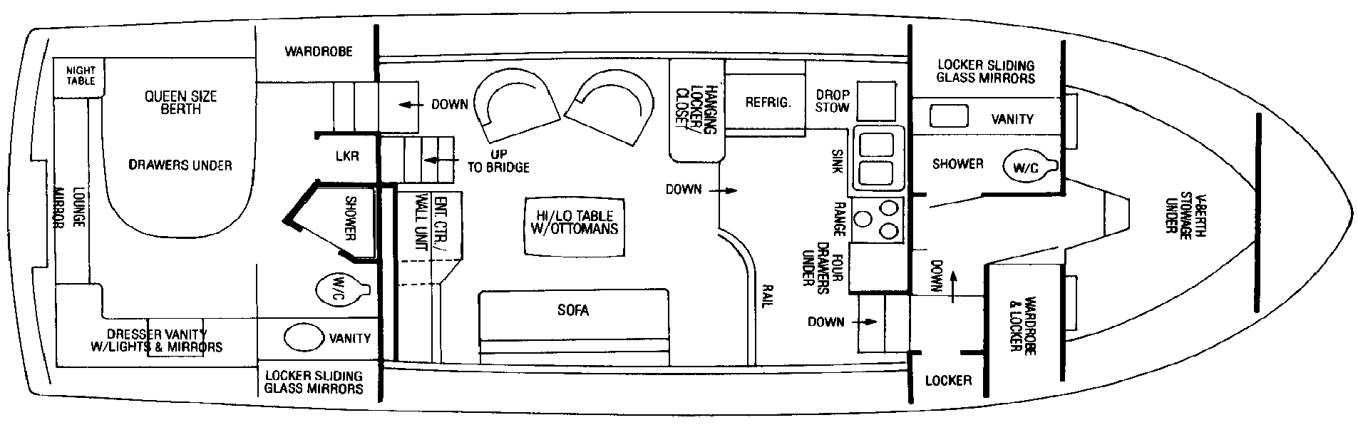 Bertram 42 Motor Yacht Floor Plan 2