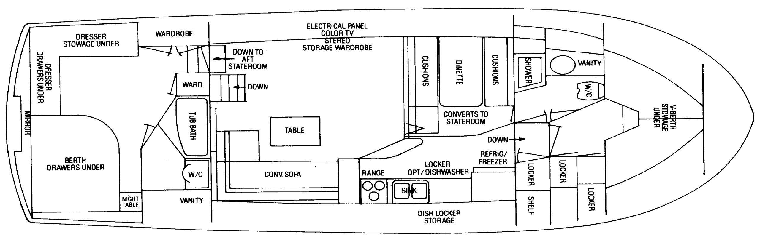 Bertram 46 Motor Yacht Floor Plan 2