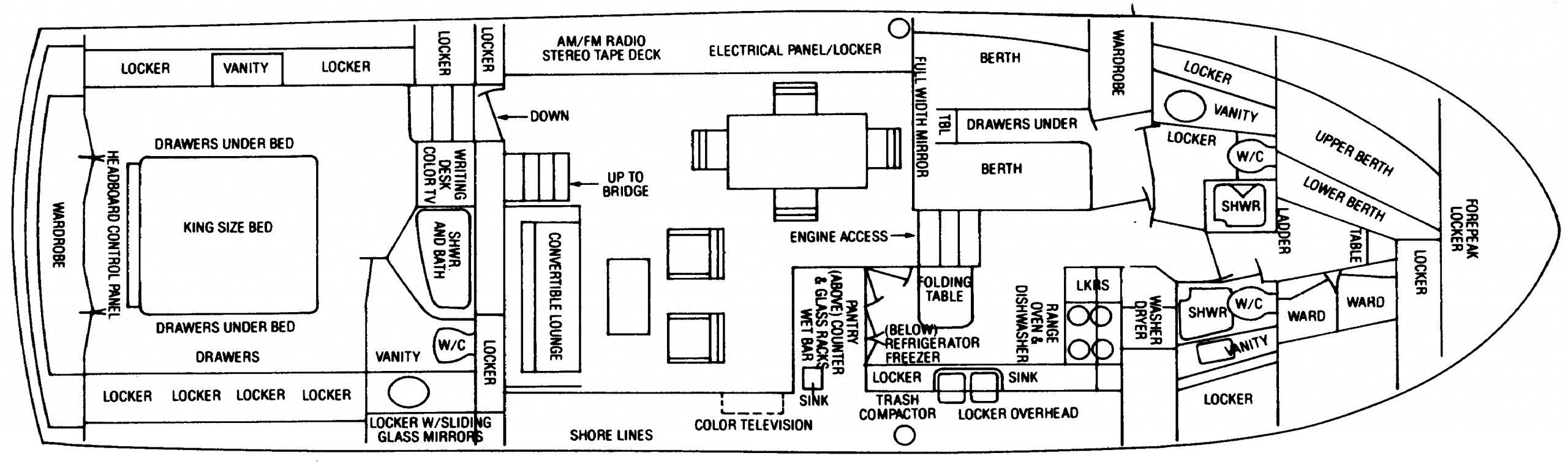58 Motor Yacht Floor Plan 1