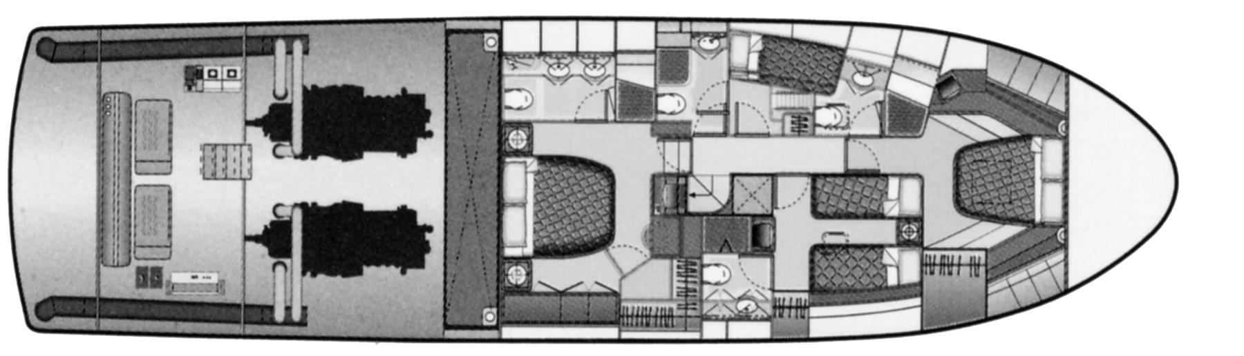 Bertram 670 Convertible Floor Plan 2