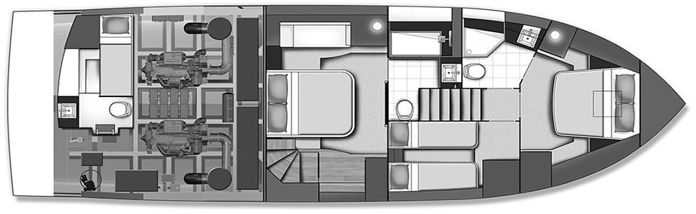 Carver C52 Coupe Floor Plan 2