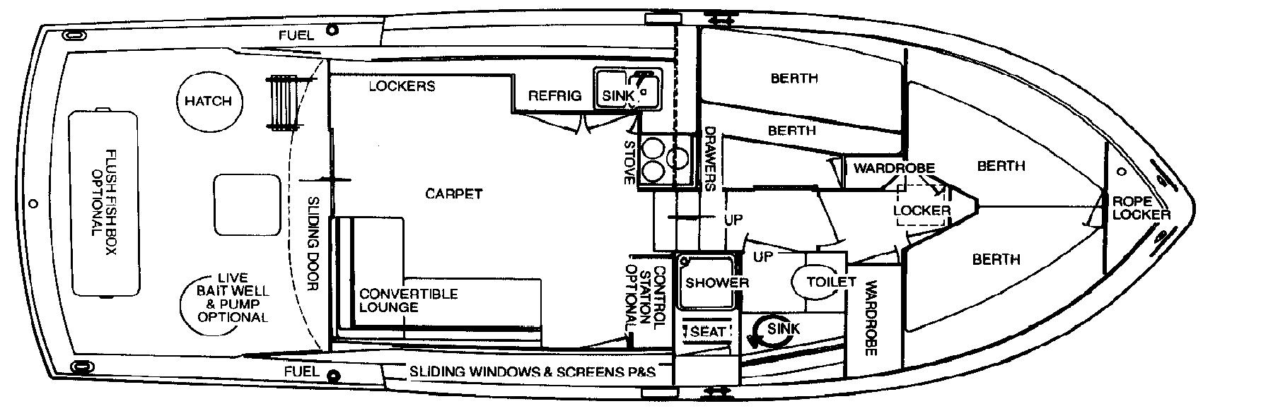 36 Sports Cruiser; 36-360 Commander Floor Plan 2