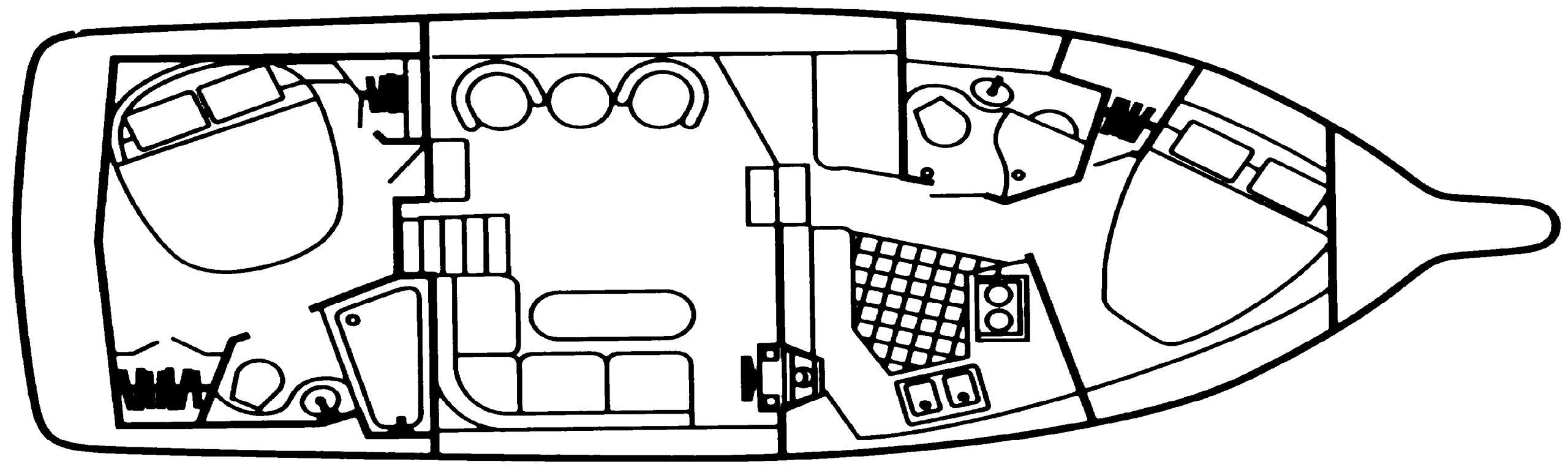 3850-3950 Aft Cabin Motor Yacht Floor Plan 2