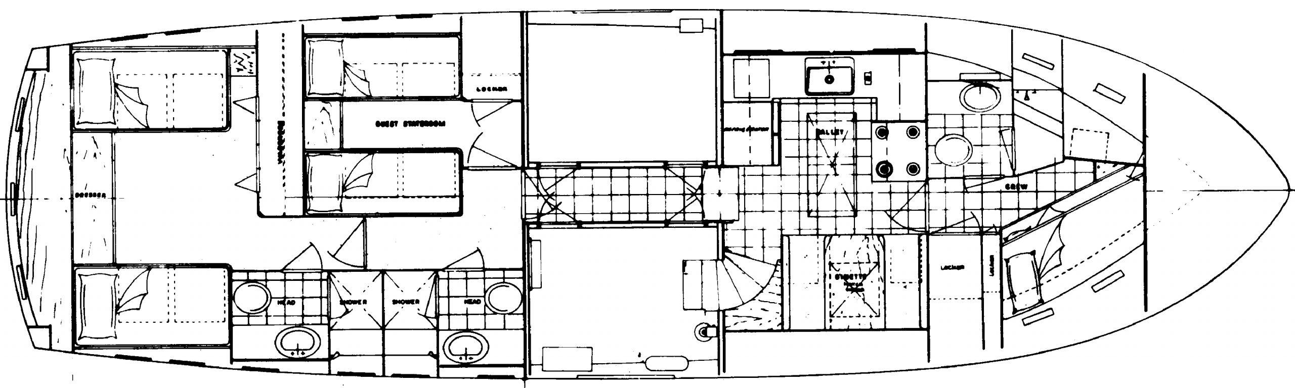 53 Motor Yacht Floor Plan 2