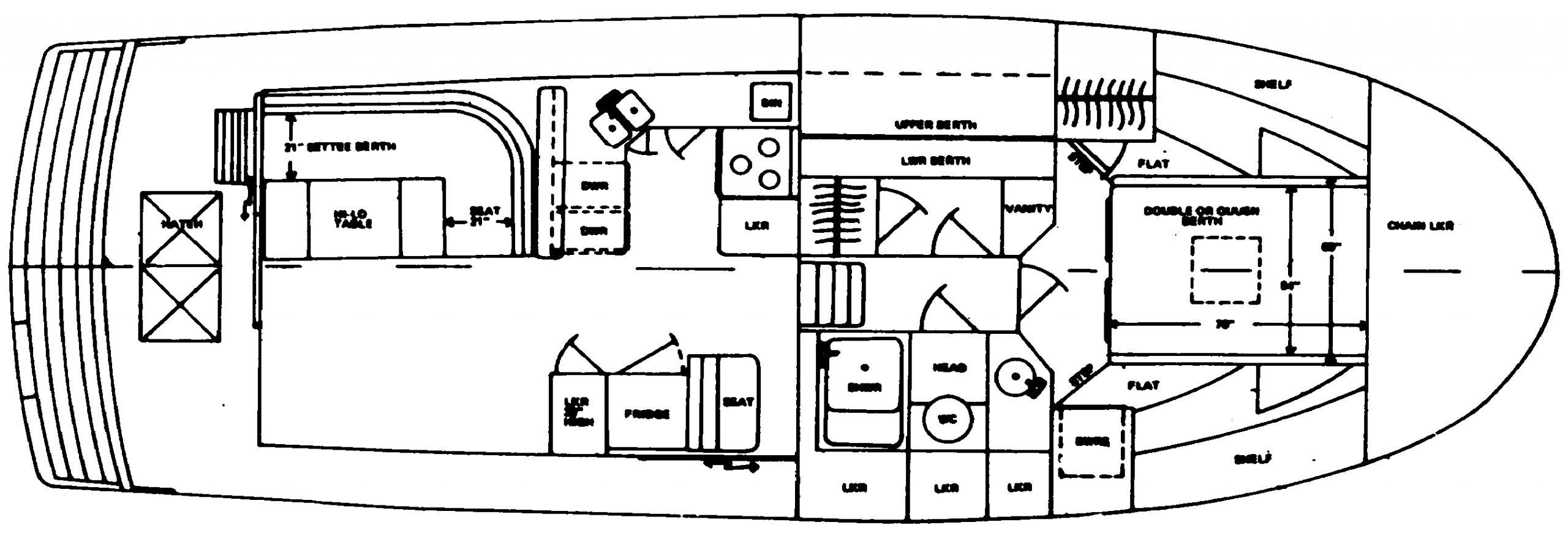 38 Sedan Trawler Floor Plan 1