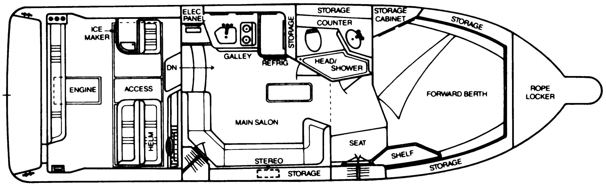 310-330 Express Cruiser Floor Plan 1