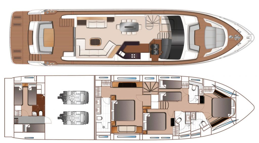"Princess 75 ""Jeannie"" Floorplans"
