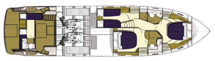 Princess 50 Flybridge Accommodations Floorplan