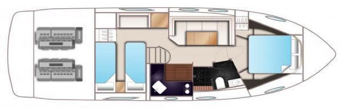 Princess V39 Accommodations Floor plan