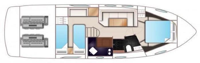 Princess V39 Accommodations Floor plan