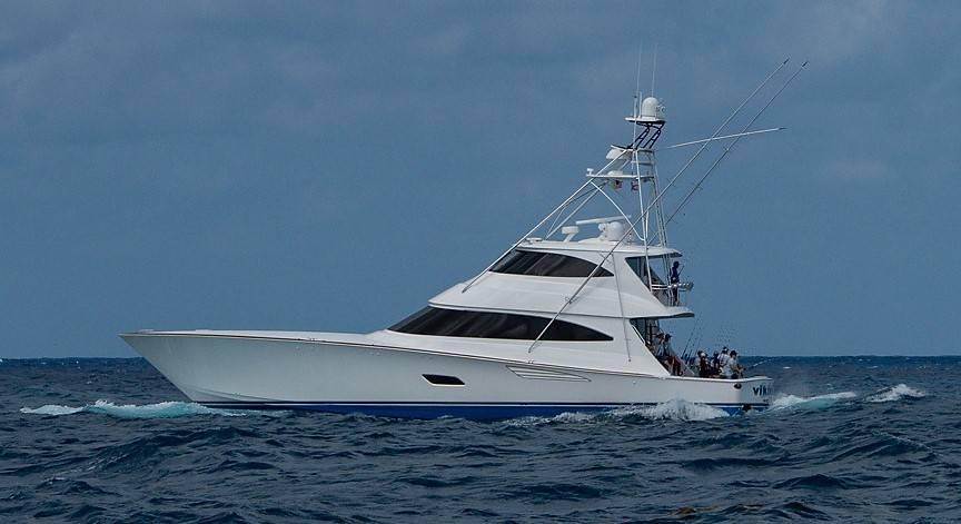 Photo of People Fishing from a Viking Yachts Convertible