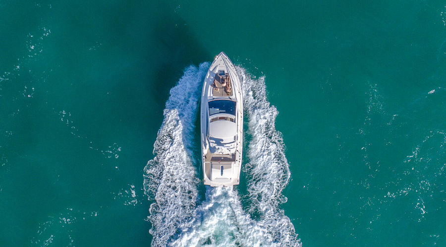 Bird's eye view of yacht in ocean