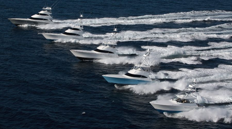 Five Viking Sportfish running in the ocean