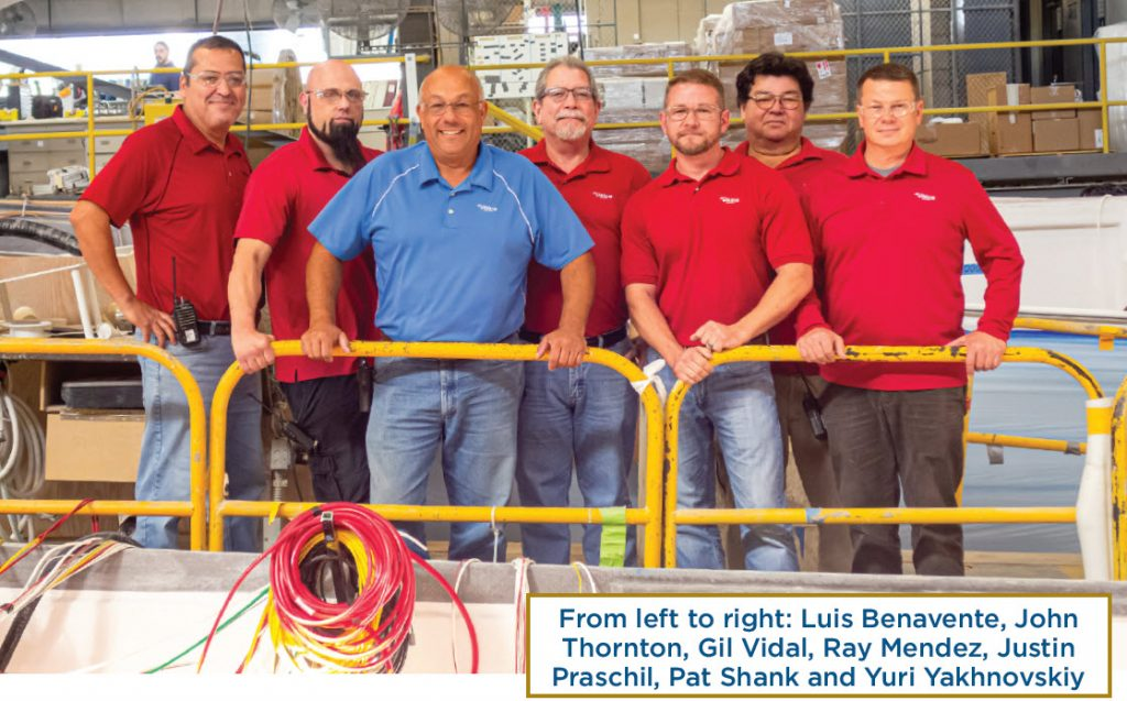 The Viking Yachts electrical department staff standing in a group